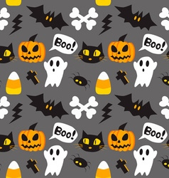 Halloween cartoon seamless background vector image