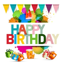 Happy Birthday with Gift Boxes Flags vector image vector image