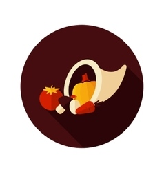 Harvest cornucopia flat icon with long shadow vector image vector image