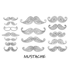 mustache collection ornate sketch for your design vector image vector image
