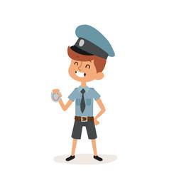 policeman boy cap and badge hands cop cartoon vector image vector image