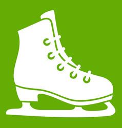 skates icon green vector image vector image