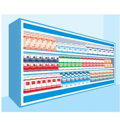 Supermarket shelves with dairy products vector image vector image