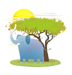 blue baby elephant in nature with tree and sun vector image