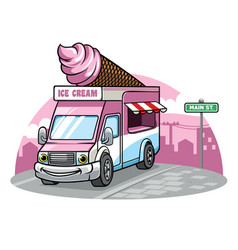 cartoon ice cream van vector image vector image
