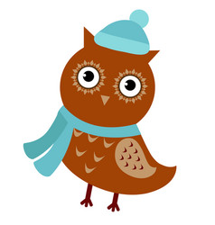 cartoon owl isolated on white background cute vector image