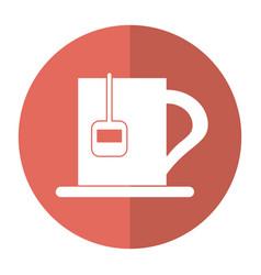 Cup tea hot break office work shadow vector