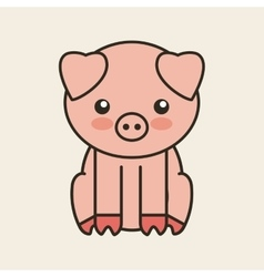 cute pig tender isolated icon vector image