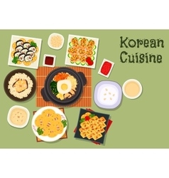 Korean cuisine traditional rice dishes icon vector image