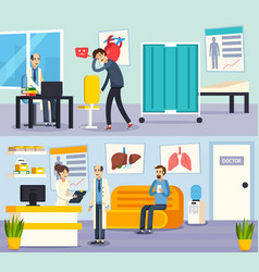 male doctor character flat compositions vector image