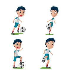 soccer player character pose set vector image vector image