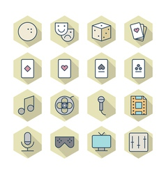 Thin Line Icons For Leisure vector image