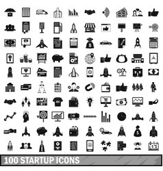 100 startup icons set simple style vector image vector image