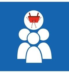 cartoon basket shopping group person vector image vector image