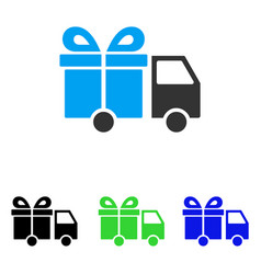 gift delivery van flat icon vector image