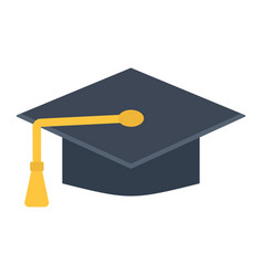 graduation cap flat icon education and knowledge vector image