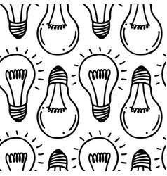 lamp light bulb hand drawn seamless pattern design vector image