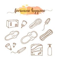 menstruation feminine hygiene hand drawn set vector image