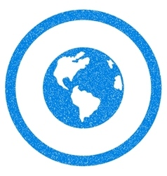 Planet Earth Rounded Icon Rubber Stamp vector image