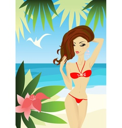 sexy woman on the beach vector image vector image