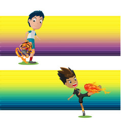 soccer player shooting fire goal vector image