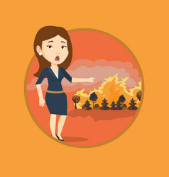 woman standing on background of wildfire vector image