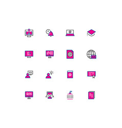 16 colored blue and pink education thin line icons vector image