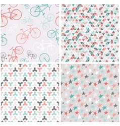4 seamless patterns in pink turquoise and grey vector