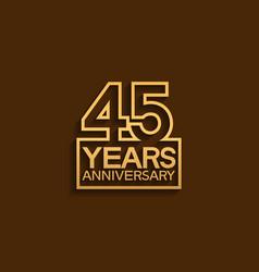 45 years anniversary design line style vector