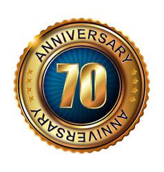 70 years anniversary golden label vector