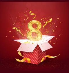 8 th year number anniversary and open gift box vector