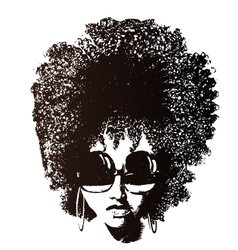 afro hair retro face vector image