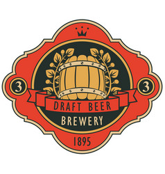 beer label with barrel laurel wreath and ribbon vector image