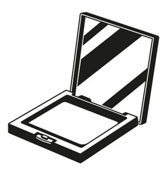 Black and white compact blusher powder silhouette vector