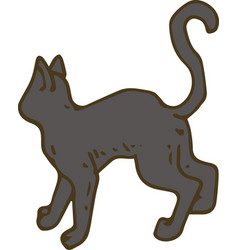 black cat turned his back vector image