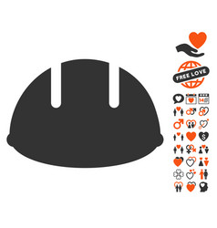 Builder helmet icon with lovely bonus vector
