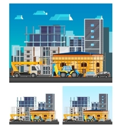 Building Construction Compositions Set vector