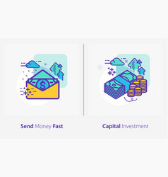 business and finance concept icons send money vector image