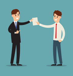 Businessman documents meeting of two businessmen vector