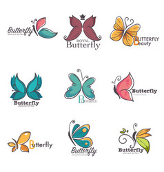 Butterfly colorful ornate icons vector
