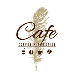 cafe logo in vintage style vector image