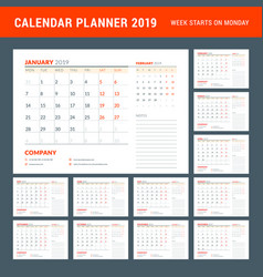 calendar planner stationery design template 2019 vector image