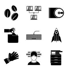 Calligrapher artist icons set simple style vector
