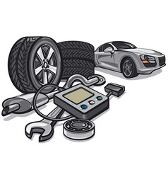 Car service with tools vector