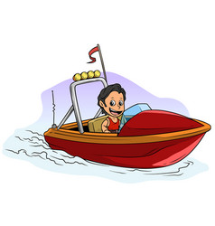 cartoon brunette boy character on red motor boat vector image