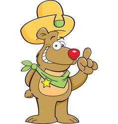 Cartoon teddy bear wearing a cowboy hat vector