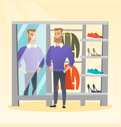 caucasian man trying on sweater in a dressing room vector image