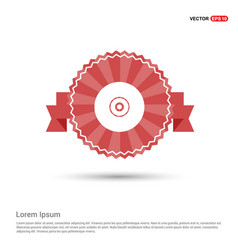 Cd disc icon - red ribbon banner vector