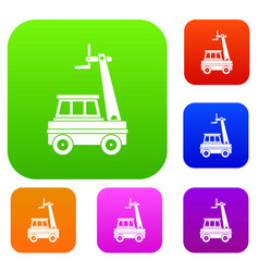 cherry picker set color collection vector image