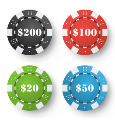 Classic poker chips colored poker game vector